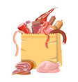 shopping supermarket bag full meat vector image vector image