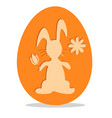 silhouette of an egg with a cute bunny inside vector image vector image