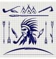 sketch native american indian vector image vector image