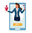 smartphone with auctioneer holding gavel vase vector image vector image