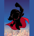 super girl flying sky silhouette vector image