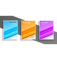 three color modern cover design template or flyer vector image