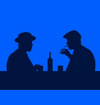 two men drink whiskey in a bar the contour men vector image