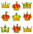 various style crown of doodle collection vector image vector image