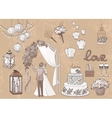 Vintage set of hand drawn wedding elements vector image vector image