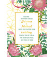 wedding invitation with protea and greenery on vector image