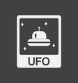 white icon on black background flying saucer on vector image vector image