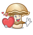 with heart portobello mushroom mascot cartoon vector image vector image