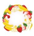 Yogurt splash isolated on strawberry and banana vector image vector image
