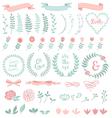 floral laurel wreath set vector image