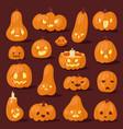 halloween pumpkin creepy face head vector image