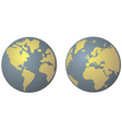 Planet Earth in yellow and denim blue vector image