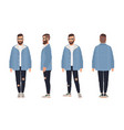 bearded man wearing glasses jacket and jeans vector image