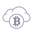 bitcoin in cloud sync and storage line style vector image vector image