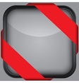 Blank black app icon with red ribbon vector image