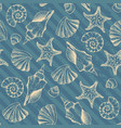 blue waves pattern and hand draw in marine style vector image vector image