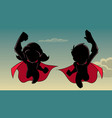 boy and girl flying silhouette vector image vector image