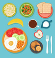 breakfast eating food and drinks on table top view vector image