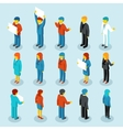 Business people isometric 3d figures vector image vector image