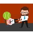 Businessman is playing tennis by bad manager vector image vector image