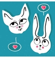 cat and rabbit with a pink heart bubble vector image vector image