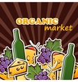 cheese wine and grapes organic food concept vector image vector image