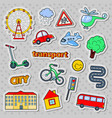 children transport doodle with bicycle bus vector image vector image