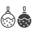 christmas tree ball line and glyph icon vector image