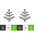 christmas tree simple black line xmas icon vector image vector image