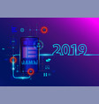 creative 2019 new year with mobile phone vector image vector image