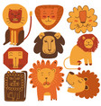 cute friendly lions set stylized design elements vector image
