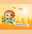 cute lion cartoon on airplane with buildings vector image