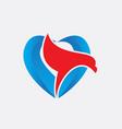 eagle symbol with love logo vector image vector image