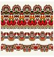 ethnic floral paisley stripe pattern border set vector image vector image