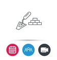 Finishing icon Spatula with bricks sign vector image