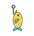 fishhook with fish icon vector image vector image