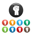 fist up icons set color vector image vector image