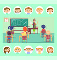 geometry class school teacher and pupils at desks vector image vector image