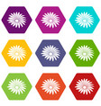 gerber flower icons set 9 vector image vector image