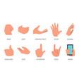 gestures set hands in different emotions vector image vector image