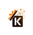 gift box ribbon letter k vector image vector image