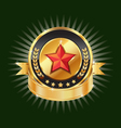 Gold emblem and red star label element vector image vector image
