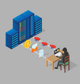 hacking server isometric vector image