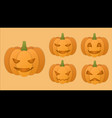 halloween pumpkin with difference faces vector image vector image