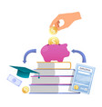 hand putting coin into piggy bank books diploma vector image
