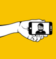 Hand with smartphone and selfie photo of man vector image vector image