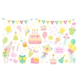 Happy birthday celebration icons vector image