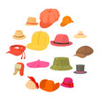hat types icons set headdress cartoon style vector image vector image