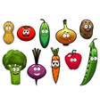 Healthy fresh cartoon vegetables characters vector image vector image