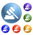 judge hammer icons set vector image